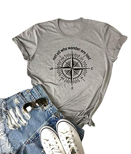 Womens Not All Who Wander are Lost Compass Tshirt Short Sleeve Summer Loose Tops (XL, ()