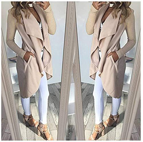 Autunno marca Elegante Lunghe Asimmetrico Invernali Pullover A Outerwear XL Monocromo Forcella Casual di Color Cappotto Donna Aperto Beige Cardigan Cucitura Lunghi Mode Maniche Moda Size 0vwxwtEAq
