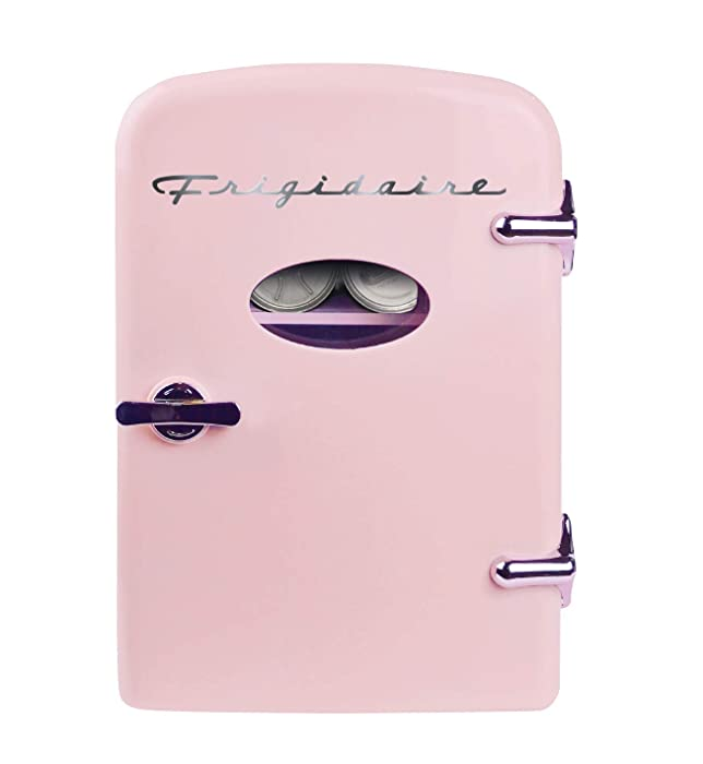 Frigidaire Retro Mini Compact Beverage Refrigerator, Great for keeping office lunch cool! (Pink, 6 Can)