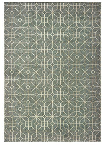 United Weavers Miami Area Rug 3003-40577 Delray Charcoal Lines Blocks 3' 11