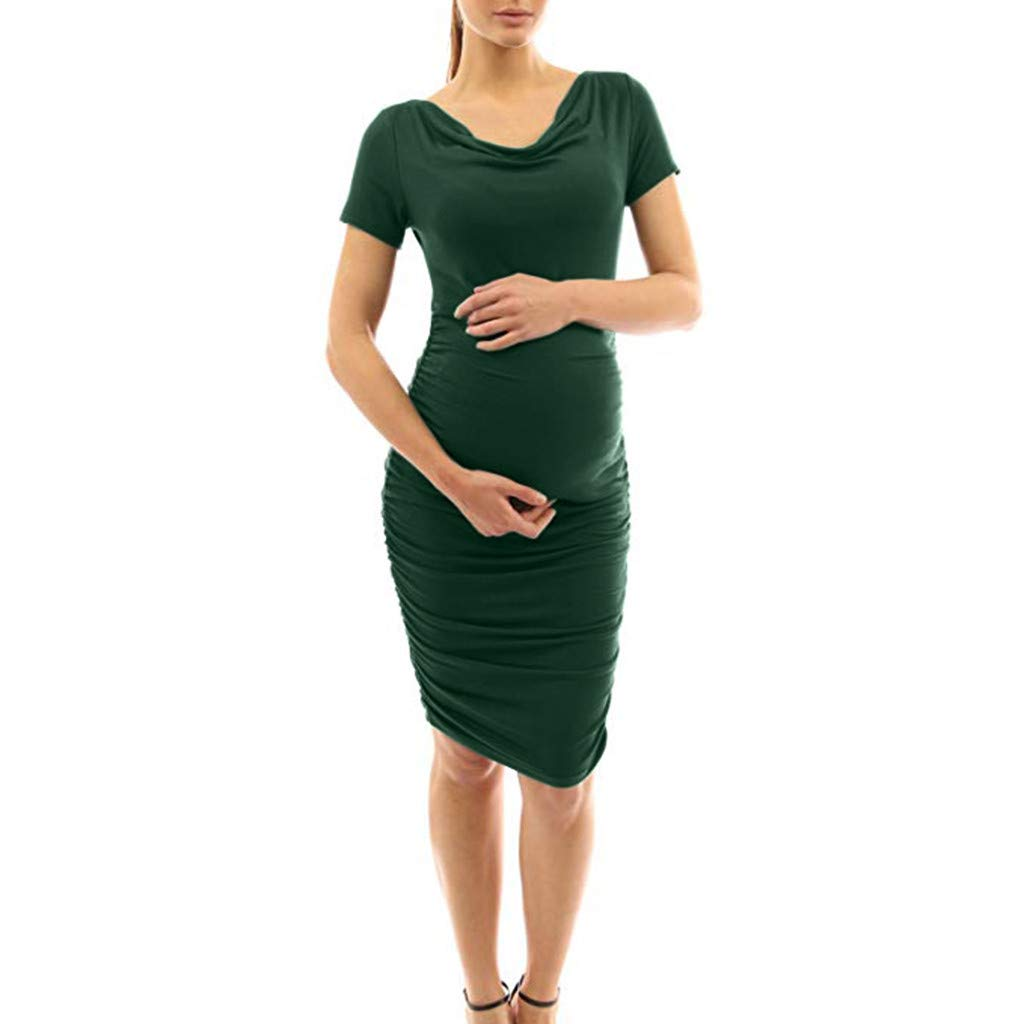 LIM&Shop Women Maternity Summer Dress Pregnant Short Sleeve Top Shirt Dress Casual Mini Dress Elastic Top Relaxed Blouse Green