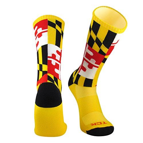 TCK Maryland Flag Crew Socks, Gold, Large by TCK