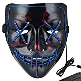 Anroll Halloween Mask LED Light Up Mask for Festival Cosplay Halloween Costume Blue