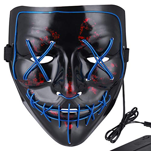Anroll Halloween Mask LED Light Up Mask for Festival Cosplay Halloween Costume Blue ()