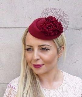 c60c04b62c136 Starcrossed Boutique Burgundy Wine Red Rose Flower Pillbox Hat Fascinator  Races Hair…