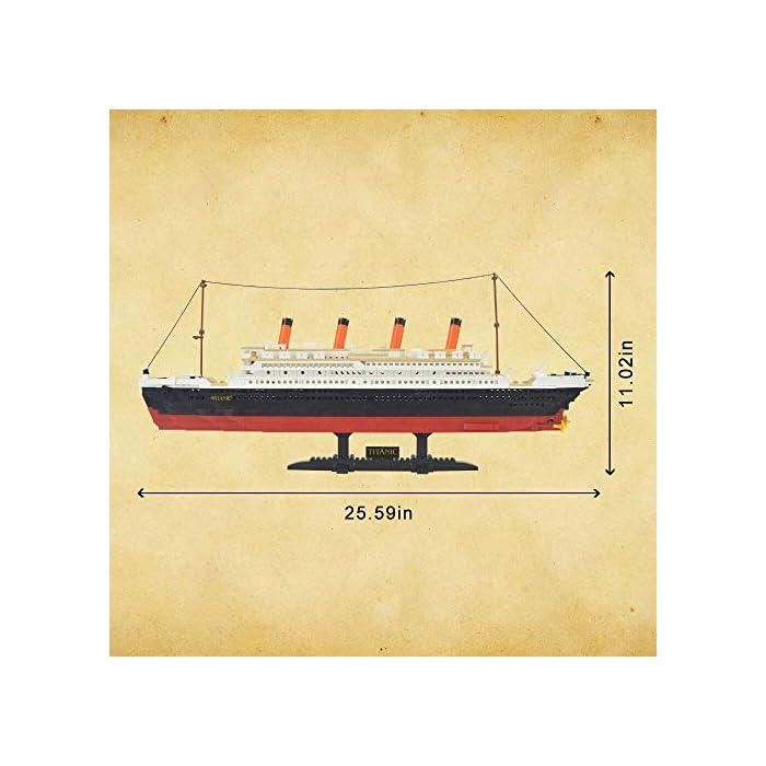 51jf4dpAZ7L Kit de bloques de construcción Titanic, contiene 1021 bloques de piezas. Enorme conjunto! Construye un proyecto espectacular en casa, compatible con las principales marcas. La instrucción detallada del color, tiene un tiempo buidling feliz.