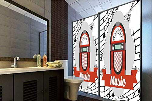Horrisophie dodo 3D Privacy Window Film No Glue,Jukebox,Old Vintage Music Radio Box Cartoon Image with Notes Artwork Print,Red Grey Black and White,47.24