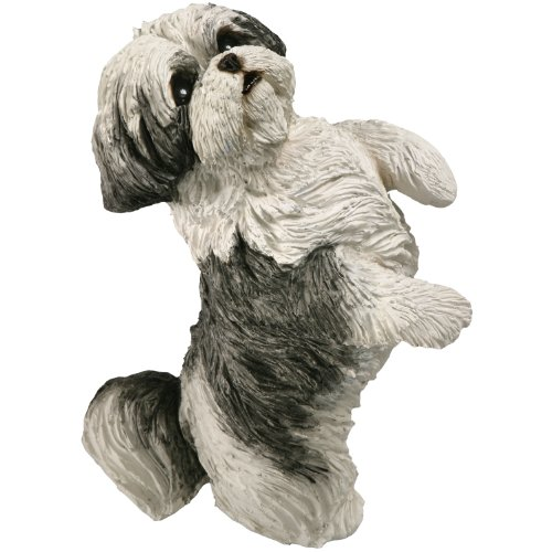 Sandicast Small Size Silver and White Shih Tzu Sculpture, Sitting Pretty