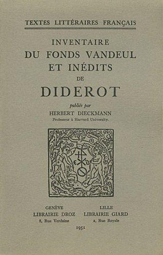 Inventaire du fonds Vandeul et inédits de Diderot