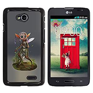 Be Good Phone Accessory // Dura Cáscara cubierta Protectora Caso Carcasa Funda de Protección para LG Optimus L70 / LS620 / D325 / MS323 // Fairy Forest Wings Magic Nature Green Eco