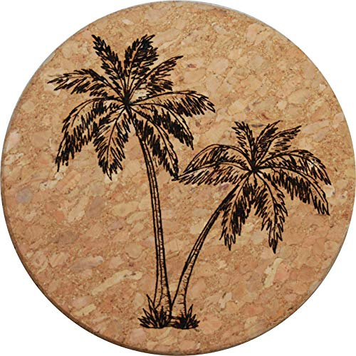- Doodle Gifts Round Cork Coasters, Palm Tree (Set of 4)