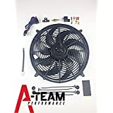 "A-Team Performance 16"" Heavy Duty 12V Radiator Electric Wide Curved 8-Blade FAN & Thermostat Kit, 3000 CFM Reversible Push or Pull with Mounting Kit"