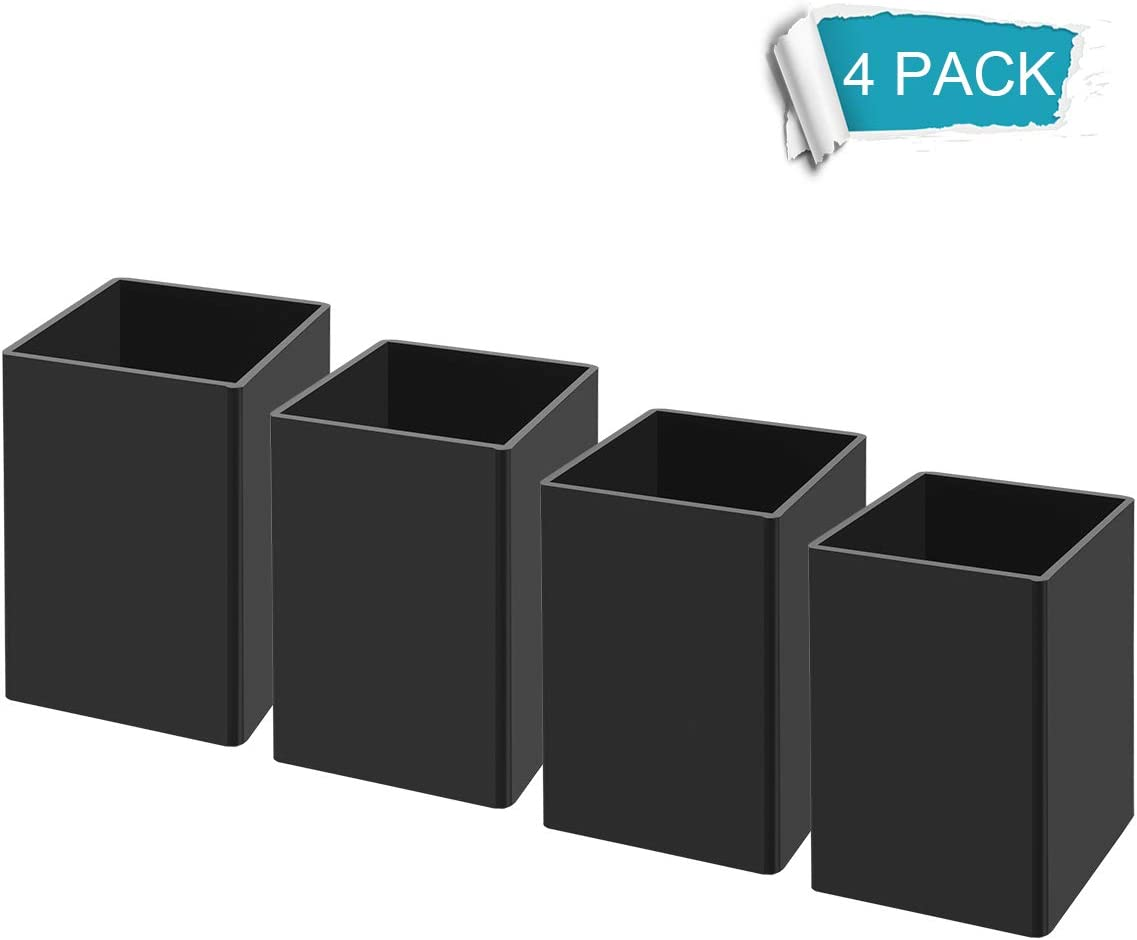 NIUBEE Black Acrylic Pen Holder 4 Pack, Desktop Pencil Cup Stationery Organizer for Office Desk Accessory