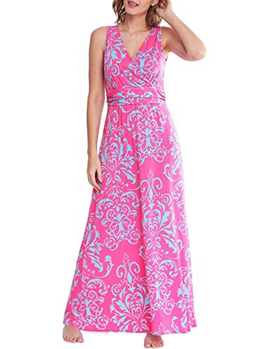 Fancy Dress Hippy (YIHUAN Women's V Neck Sleeveless Empire Floral Print Party Long Dress)