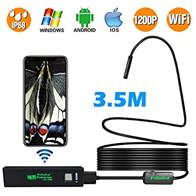 Peilindeal 1200P Wireless Inspection WIFI Endoscope IP68 Waterproof 11.5FT High Frame Rate 2.0 MP Snake Multifunctional HD Camera Suitable for Android, IOS Windows, Tablet, Mac
