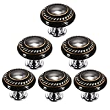 Black Retro Style Round Ceramic Door Knob Kitchen Cabinet Drawer Cupboard Locker Pull Handle Furniture Cabinet Pull Handle Hardware by Choubao - 6PCS
