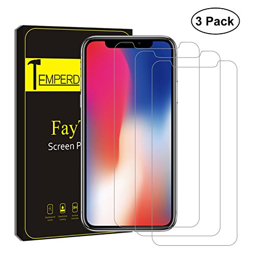 iPhone X Screen Protector, (Clear transparent, 3 Packs) FayTun iPhone X Tempered Glass Screen Protectors, 0.3mm Screen Protector Glass for Apple iPhoneX 2017, 3D Touch - Remover Off Scratch Scratch