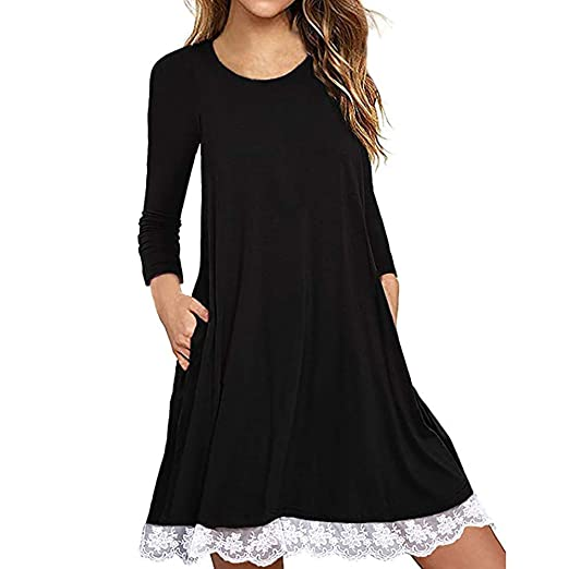 393719a9c6c Women s Casual T Shirt Dresses Long Sleeve Cotton Lace Plain Oversized Maxi  Shirt