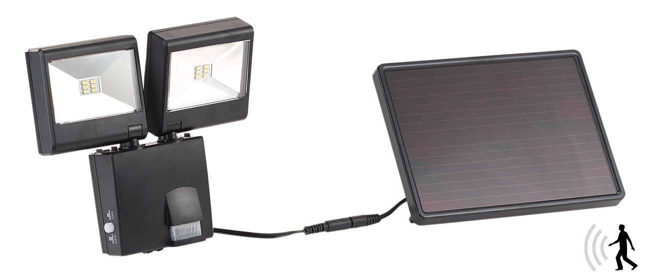 Luminea LED Bewegungsleuchte: Duo-Solar-LED-Außenstrahler mit PIR-Bewegungssensor, 6 W, 480 lm, IP44 (Fluter Außen) IP44 (Fluter Außen)