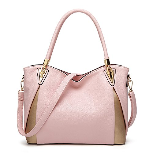 Mn&Sue Top Handle Handbags for Women Ladies Slouchy Purses Large Satchel Bags Crossbody Shoulder Tote (Pink)
