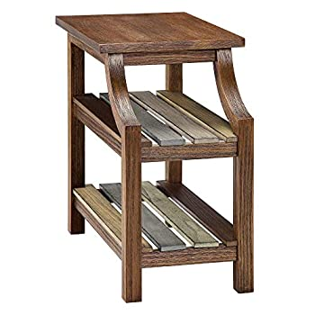 Image of Ball & Cast Three Shelf End Table - Distressed Brown Home and Kitchen