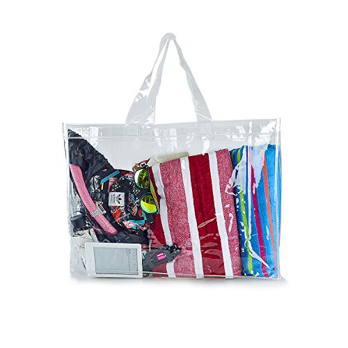 Estarer Travel Beach Bag Waterproof Swimming Security Shoulder Clear Tote (Plastic Beach Tote)