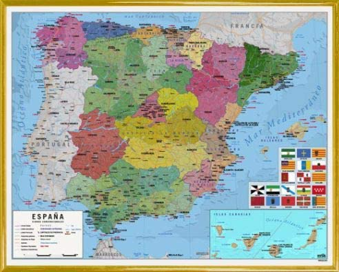 1art1 Mapas Póster Mini con Marco (Plástico) - Mapa De España (50 x 40cm): Amazon.es: Hogar