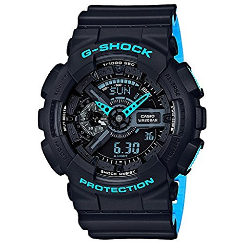 Men's Casio G-Shock Anti-Magnetic Black and Neon Blue Resin Watch (Blue G-shock Watch)