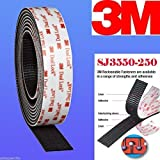 3m 1'' W X 5' Dual Lock SJ3550 Type 250 VHB Black Reclosable Fastener Indoor /Outdoor Use Mounting Adhesive Tape / Hook and Loop E-zpass Window Mounting DualLock (12)