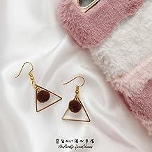 BEAN BAG BROWN heart-warming hair ball triangle pendant Korean wild temperament ear hook earrings ear clip