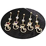 Aooaz Jewelry Belly Button Piercing Rings Stainless Steel Cat Champagne CZ Navel Body
