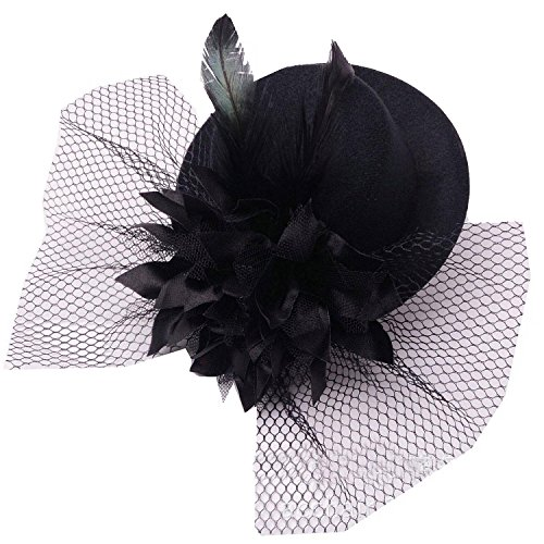 Top Hat Fascinators (Coolr Women's Fascinator Flower Hair Clip Feather Burlesque Punk Mini Hat Black)