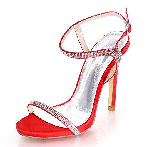 Red Partido Alto D7216 Shoes Zapatos Punta Rhinestones La Tacón Del Elegant Verano De Abierta Nupcial Boda Diamantes High 09 qgyPXAwU