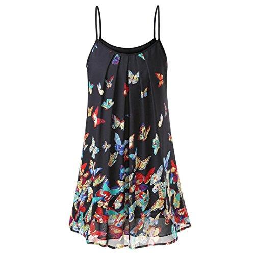 Dress Criss Cross Trim (FEITONG Women's Casual Sleeveless Chiffon Boho Print Short Mini Dress Sundress Top (Medium,Multicolor))