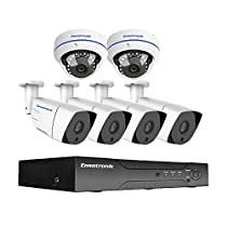Ensotronic 1080P HD IP PoE Security Camera System, 8 Channel IP PoE NVR and (4) Bullet and (2) Dome 1080P 2MP Indoor Outdoor Camera Video Surveillance Kit, 2TB Hard Drive Pre-installed