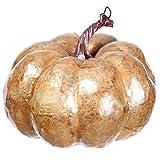 6.5''Hx7.5''W Artificial Metallic Weighted Pumpkin -Beige/Gold (pack of 4)