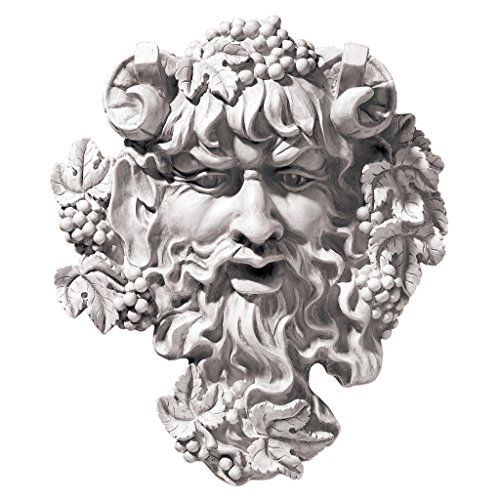 Design Toscano Bacchus, God of Wine Greenman Wall Sculpture, Medium, 12 Inch, Polyresin, Antique - Sculpture Face Wall