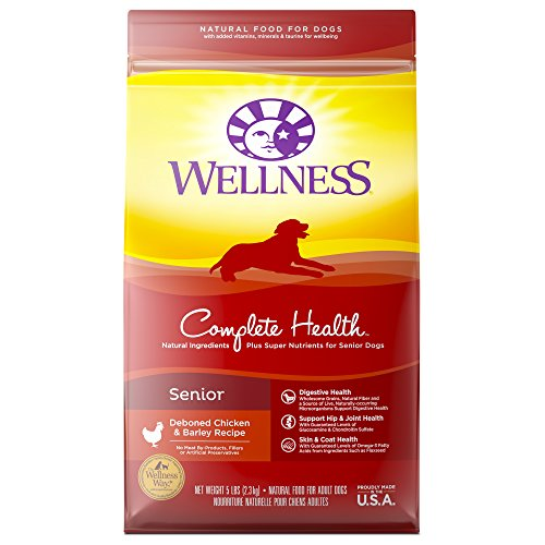 Wellness Complete Health Natural Dry Senior Dog Food, Chicken & Barley, 5-Pound Bag