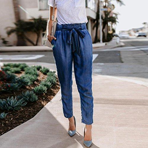 mujer Waist Leg High BaZhaHei vaquero Wide Pantalones moda sexy de damas Denim cintura Fashion de de Pantalón de Sexy Casual cintura alta vendaje alta pierna de Pants Cowboy ancha 2 Azul Women de pantalones HZHUqSw