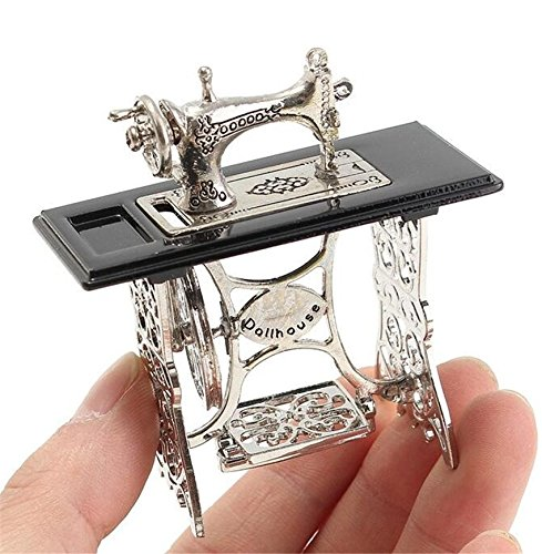 EatingBiting(R) 1/12 1:12 Scale Dollhouse Miniatures Furniture Vintage Silver Sewing Machine Table Metal , Sewing Machine Pedal Can Move , Worth to Keep