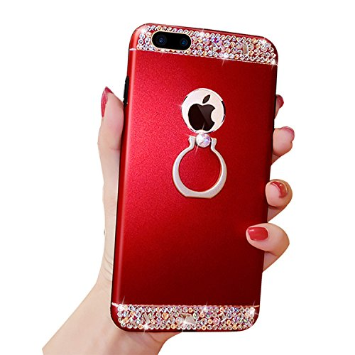 iPhone 7 Plus Case, Bonice Diamond Glitter Luxury Crystal Rhinestone Soft Rubber Bumper Bling Case with 360 Degree Rotating Ring Grip/Stand Holder/Kickstand For iPhone 7 Plus - Red
