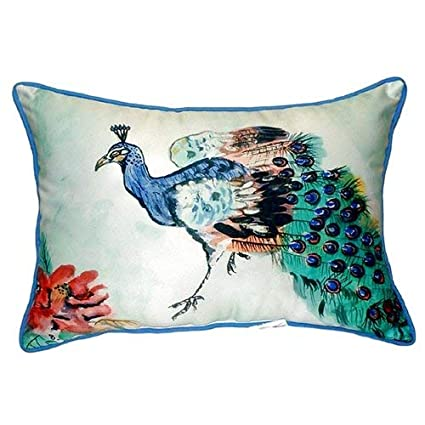 Betsy Drake Interiors Peacock Indoor/Outdoor Lumbar Pillow