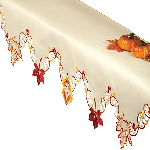 harvest maple leaf linens mantel - Harvest Decorations