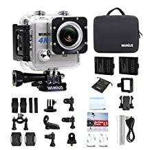WiMiUS L1 4K Action Camera Wifi 20MP Waterproof Sports Camera FPV Camcorder Sony Sensor 2.0'' 170°Wide Angle Include 2pcs Batteries-Silver