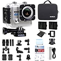 Action Camera 4K Wifi 20MP WIMIUS L1 Waterproof Sports Cam Ultra HD DV FPV Camcorder Sony Sensor & Novatek 96660+ Chipset 2.0 LCD 170° Wide Angle 2 Batteries With Portable Package (Silver)