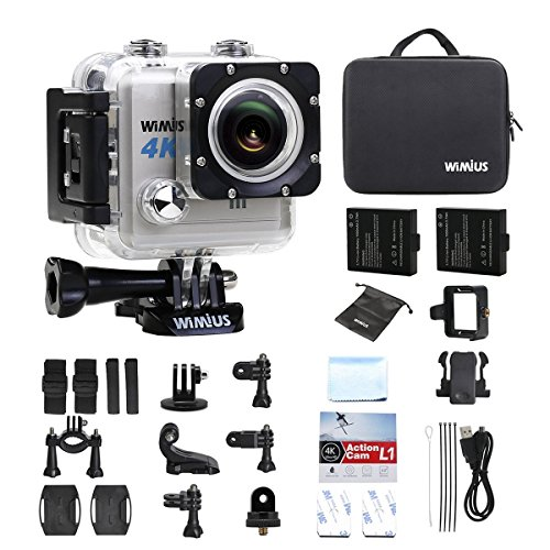 WIMIUS L1 Action Camera, Sports Action Camera 4k WiFi Ultra HD 20MP Waterproof Camera 30M Sony Sensor with 2 Rechargeable Batteries + Portable Bag (Silver)