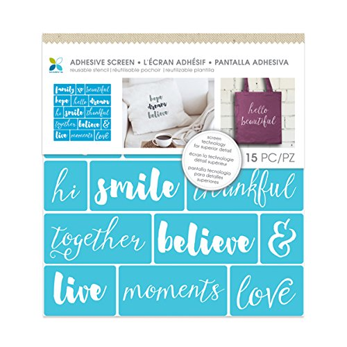 Momenta Family Words Fabric Screen Stencil  Blue