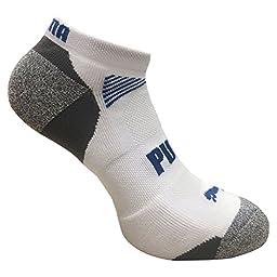 Puma Men\'s Low Cut All Sport No Show Socks 6-Pair (Shoe Size 12-16, White/Grey)