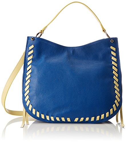 Chicca Borse 8701, Borsa a Spalla Donna, 35x28x12 cm (W x H x L) Blu (Blue/Yellow)