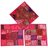 3 Decorative Indian Throw Pillow Cases Pink Ethnic Patchwork Cushion Covers 16 x 16